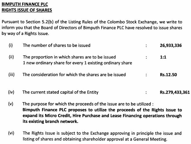 Bimputh Finance 1:1 Rights Issue @12.50 Bimput10