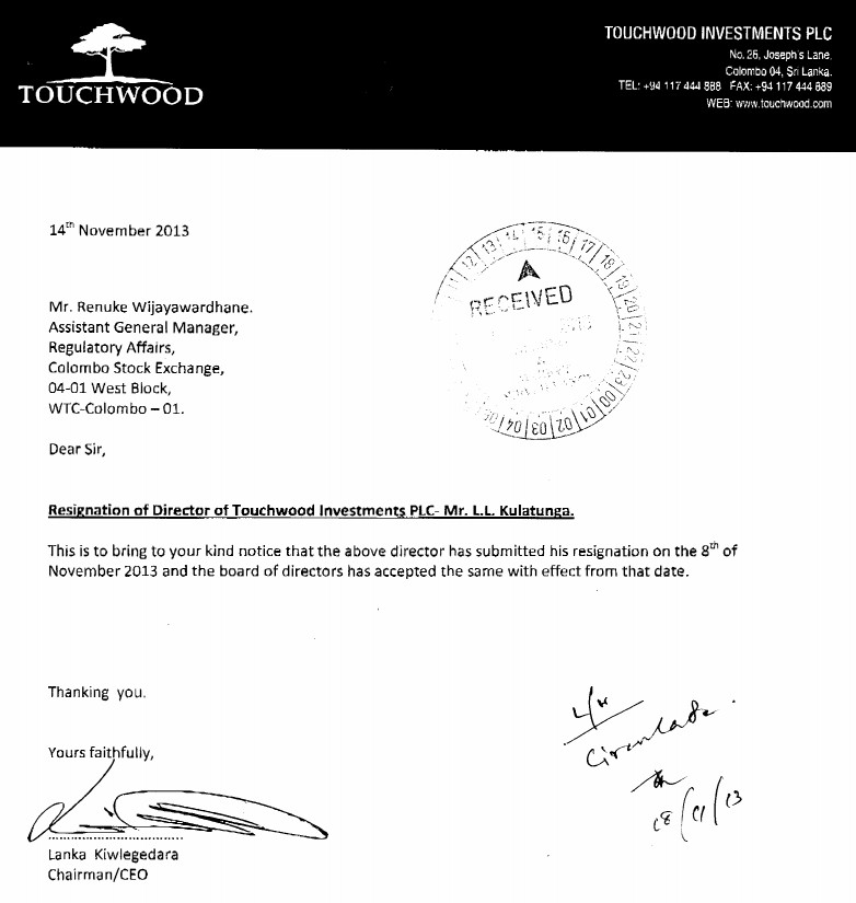 Another Director resignation from TWOD. Cs10