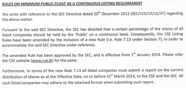 Rules on Minimum Public Float as a Continuous Listing Requirements Cse17