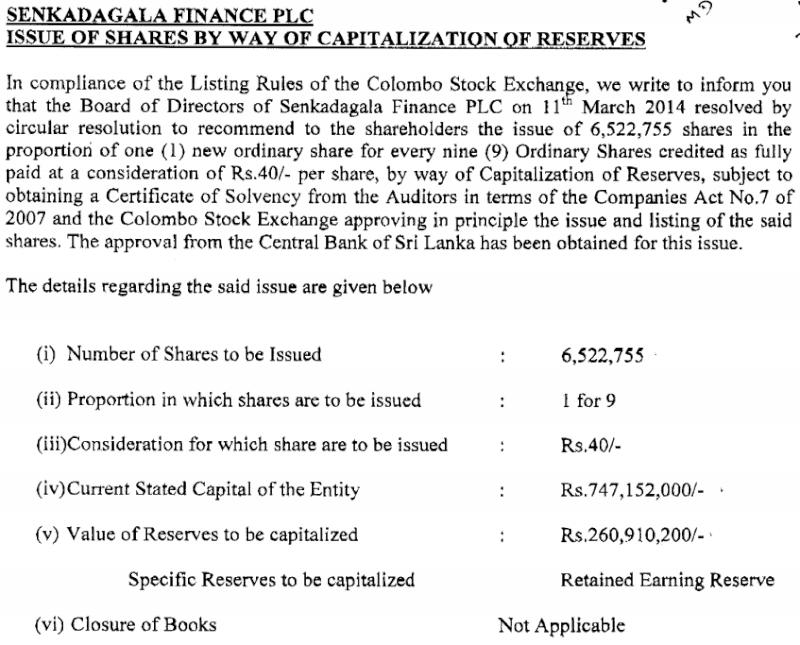 12-Mar-2014 Capitalization of Reserves - Senkadagala Finance Senk110