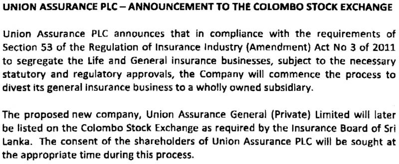 27-Mar-2014 Union Assurance - Corporate Disclosure Union10