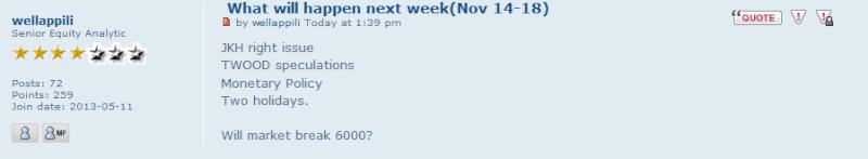 What will happen next week(Nov 14-18) Walli10