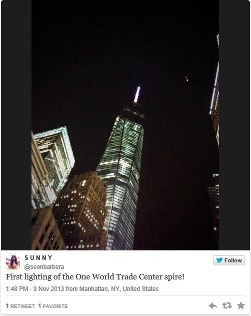 New York - World Trade Center - Spire Lights Up  World_11