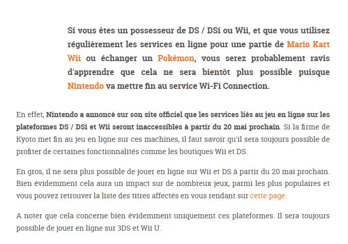 """Fin du service """"Connexion Wifi Nintendo"""" pour la Wii et la DS. Grosse10"""