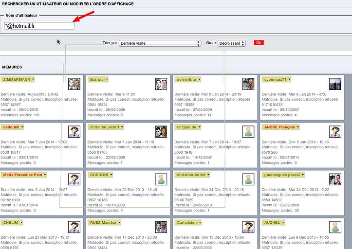 [ résolu ] retrouver aisément les membres inscrits sur son forum via une adresse HotmailL, Yahoo, msn.com, aol, live, ymail.com, rocketmail.com Captu150