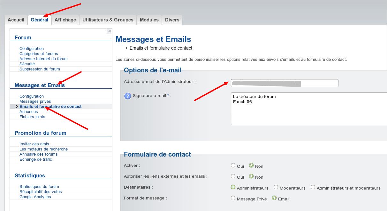 Mail par défaut des notifications envoyées par les forums Forumactif avec nom de domaine perso Captur99