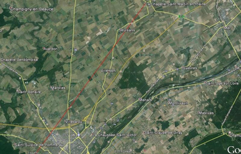 2014: le 14/05 à 18H05 - OVNI cylindrique - VILLERBON - Loir et Cher (dép.41) Trajec10