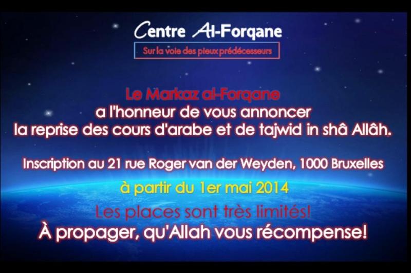 Le Markaz al-Forqane a l'honneur de vous annoncer la reprise des cours d'arabe et de tajwid  10276511
