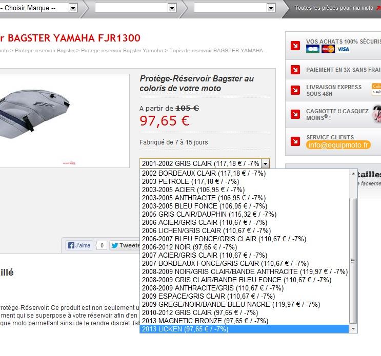 tapis reservoir bagster inclus fjr 2013 Dqfsgf10
