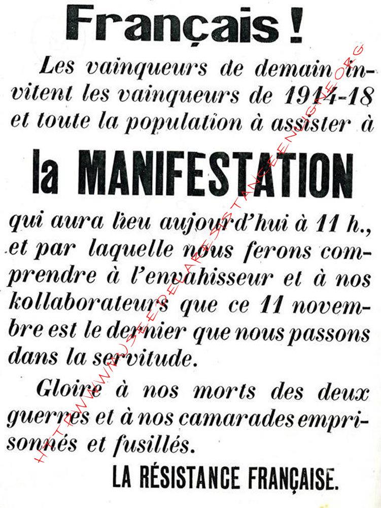 11 novembre 1943 : le défilé d'Oyonnax 390311