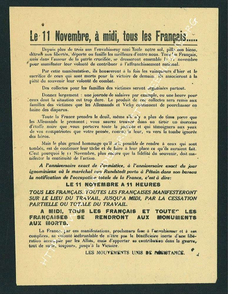 11 novembre 1943 : le défilé d'Oyonnax 399310