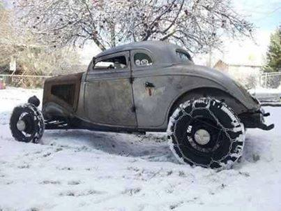 hot rod in snow  14758210