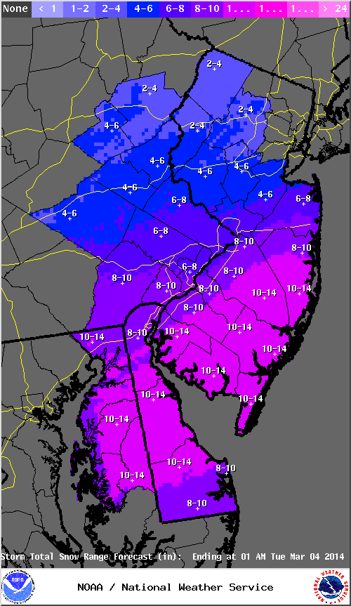 2nd call snow map / timing, March 3rd Storm Discussion 3.0  Stormt14