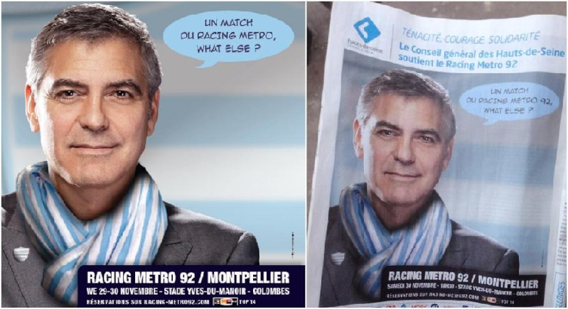 George Clooney advertising French pub - without his knowledge? Or is Racing Club Metro his new fave local? 13-11_41