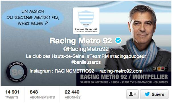George Clooney advertising French pub - without his knowledge? Or is Racing Club Metro his new fave local? 13-11_42