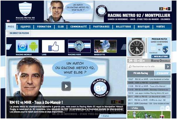 George Clooney advertising French pub - without his knowledge? Or is Racing Club Metro his new fave local? 13-11_43