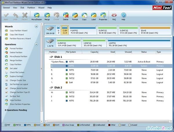 MiniTool Partition Wizard - phần mềm quản lý và phân vùng ổ cứng tốt nhất hỗ trợ GPT Sinhvi10