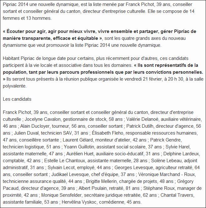 Les listes des élections municipales 2014 Pipriac Pipria11