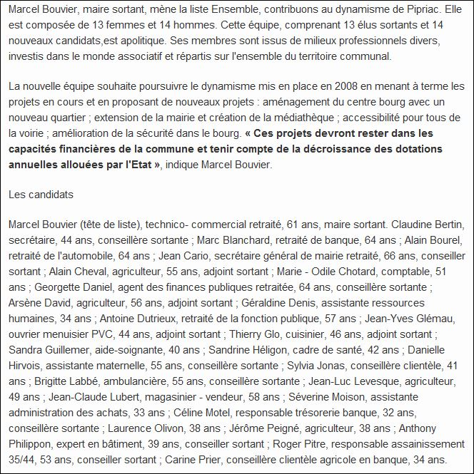 Les listes des élections municipales 2014 Pipriac Pipria13