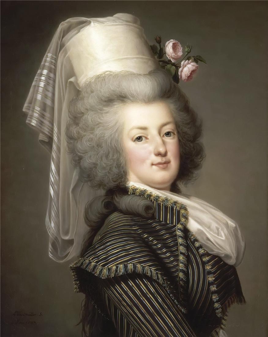 wertmuller - Marie-Antoinette en habit de chasse, ou chemise blanche, par Wertmüller (1788) D84f3210
