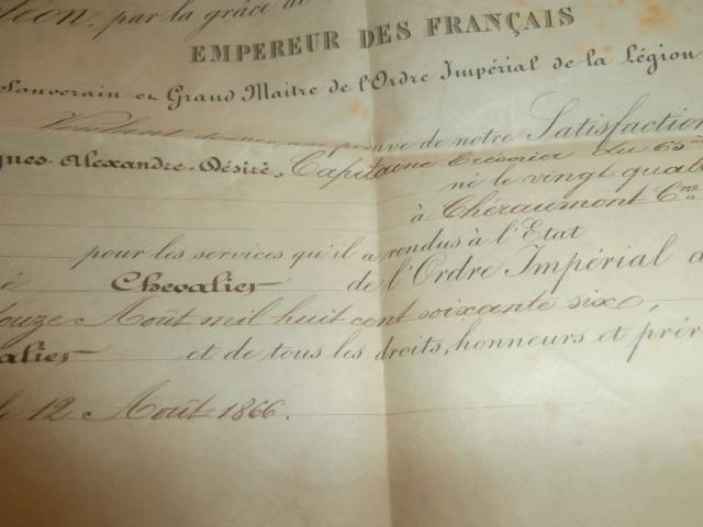 diplome legion d'honneur second empire P4140312