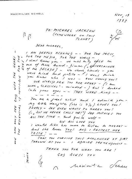 Lettera di Maximilian Shell per Michael nel 1993  110