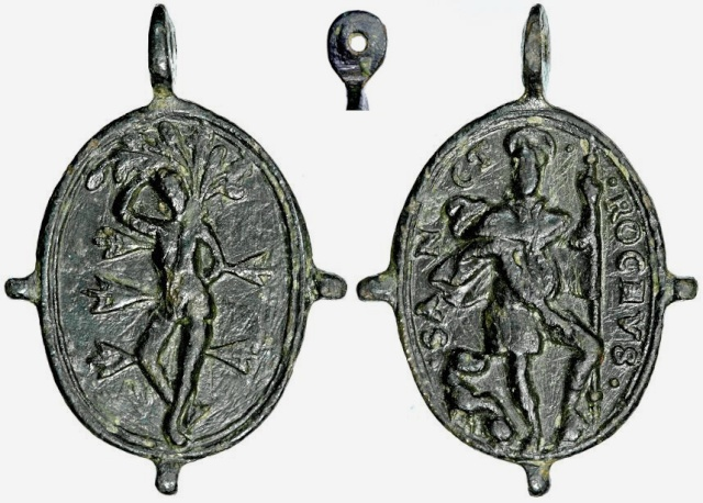 Medalla pezuelada San Roque / S. Sebastián B015_d11