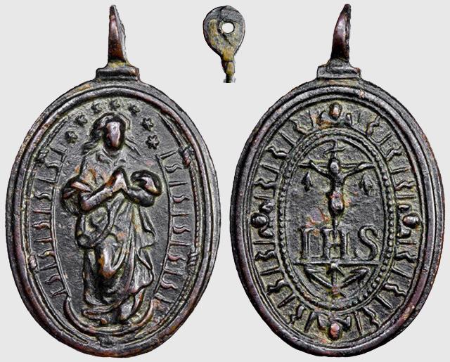 Medalla Inmaculada Concepción / Emblema Jesuita (R.M. SXVII-O296) C032_d10