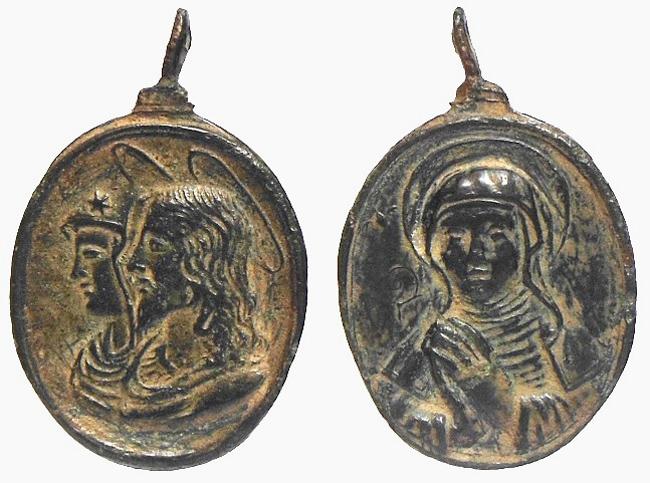 Bustos acolados Jesús y María / Santa Escolástica (R.M. SXVII-O253) Escola10