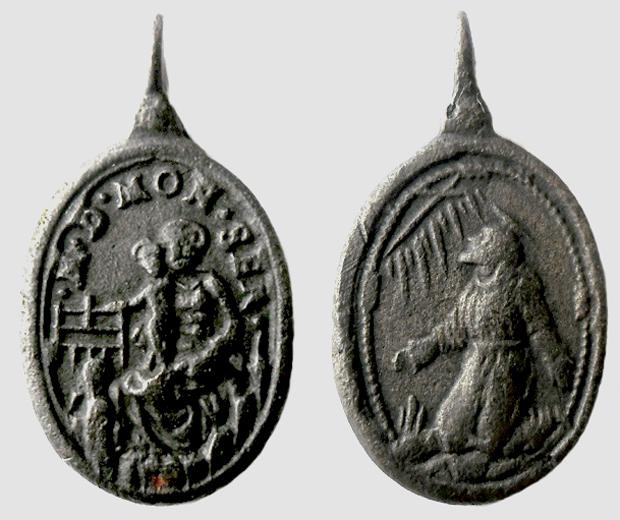 Medalla N S de Monserrat / San Francisco de Asís. S. XVII (R.M. SXVII-O279) Montse16