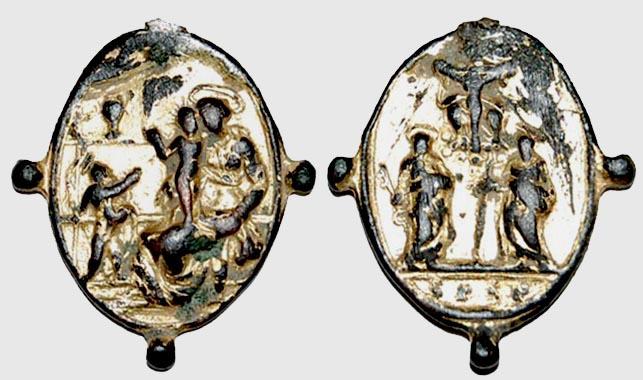 Medalla S Pedro y S Pablo /  Virgen y San Juanito   s. XVII (Pe Virgen con Niño 5)  Pedro_11