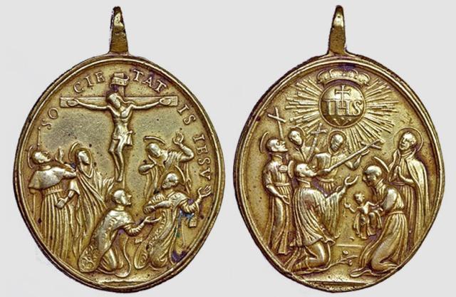 Crucifixión y santos jesuitas / Emblema y santos jesuitas  S. XVIII(R.M. SXVIII-O219) Santos14