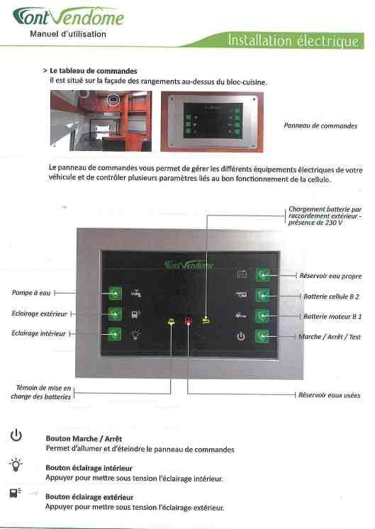 Information sur le tableau de contrôle d'un Font-Vendôme 2013. Doc_ce13