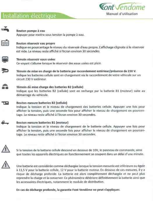 Information sur le tableau de contrôle d'un Font-Vendôme 2013. Doc_ce14