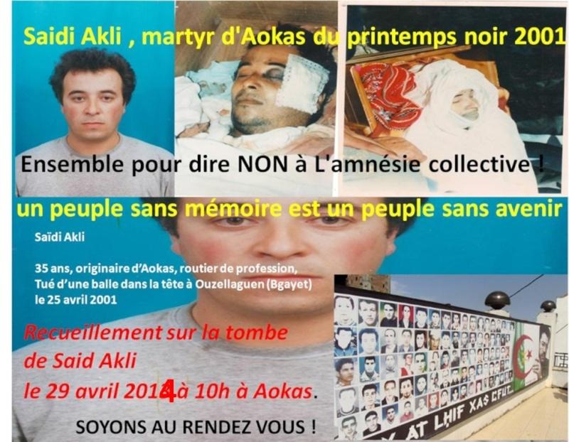 Recueillement le 29 avril 2014 sur la tombe de Saidi Akli à Aokas. Akli10