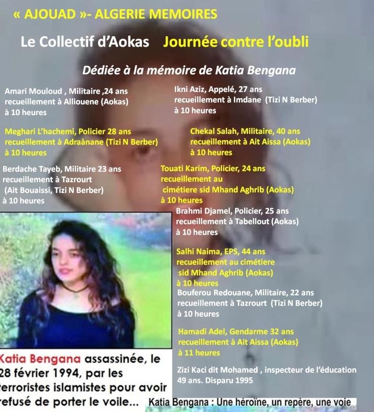 """Le collectif d'Aokas- """"Ajouad"""" Algerie Memoires: 22 mars 2014, journée contre l'oubli Bengan10"""