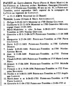 Lignée Payet dit St-Amour 1100