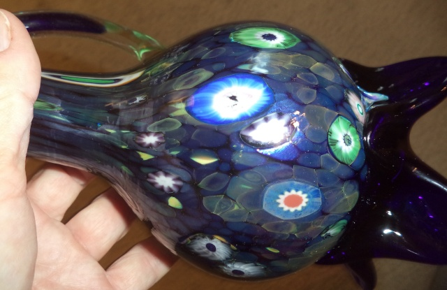 need help with signature art glass millefiori iredescent ewer Greate12