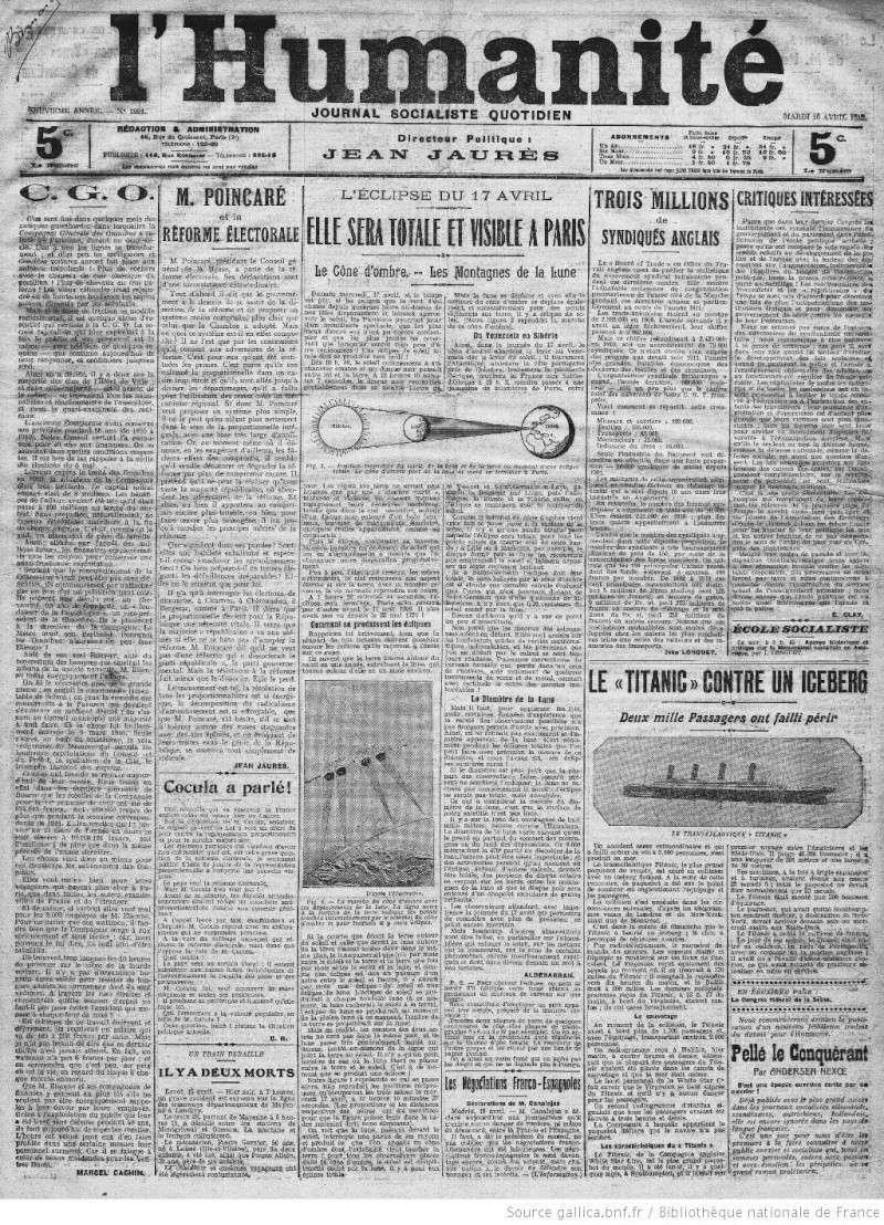 Les articles de journaux sur le naufrage du TITANIC 16_04_10