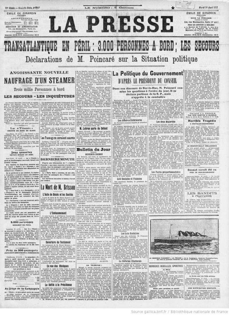 Les articles de journaux sur le naufrage du TITANIC 16_04_11