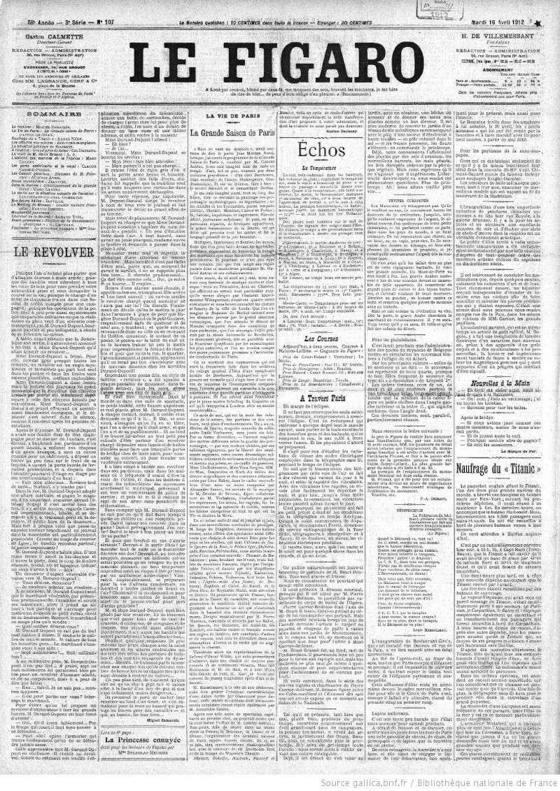 Les articles de journaux sur le naufrage du TITANIC 16_04_12