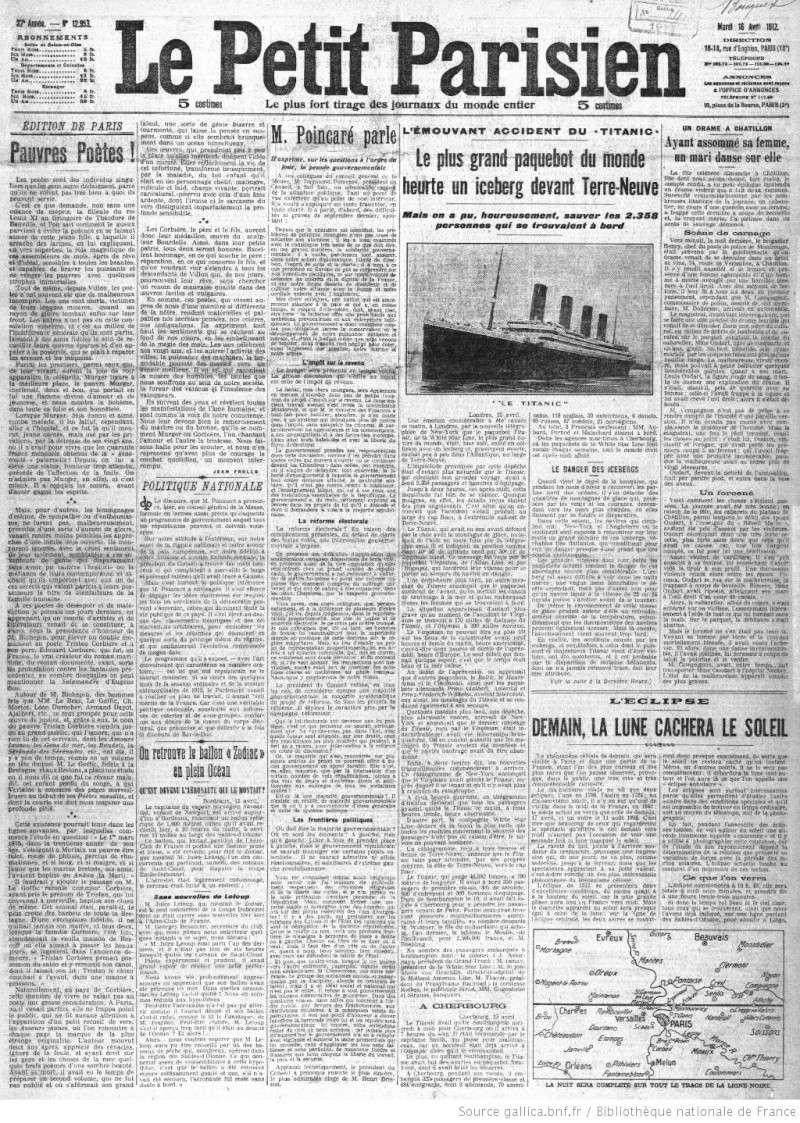Les articles de journaux sur le naufrage du TITANIC 16_04_13