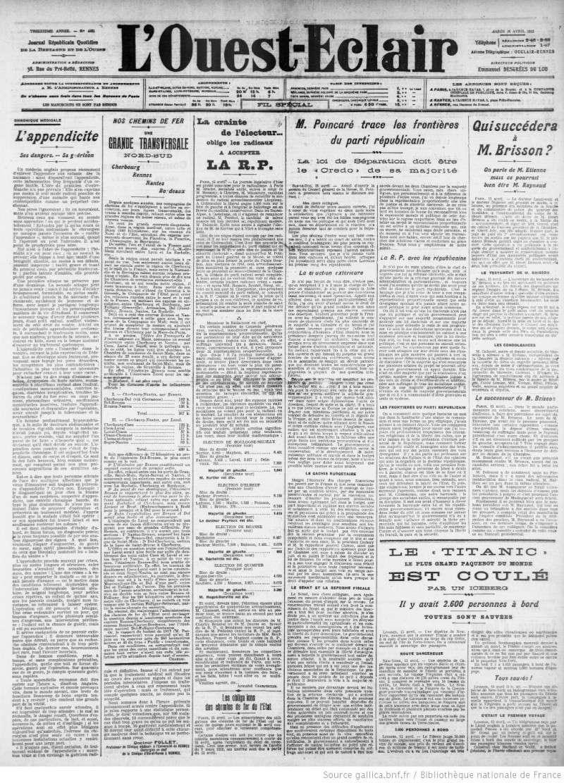 Les articles de journaux sur le naufrage du TITANIC 16_04_14