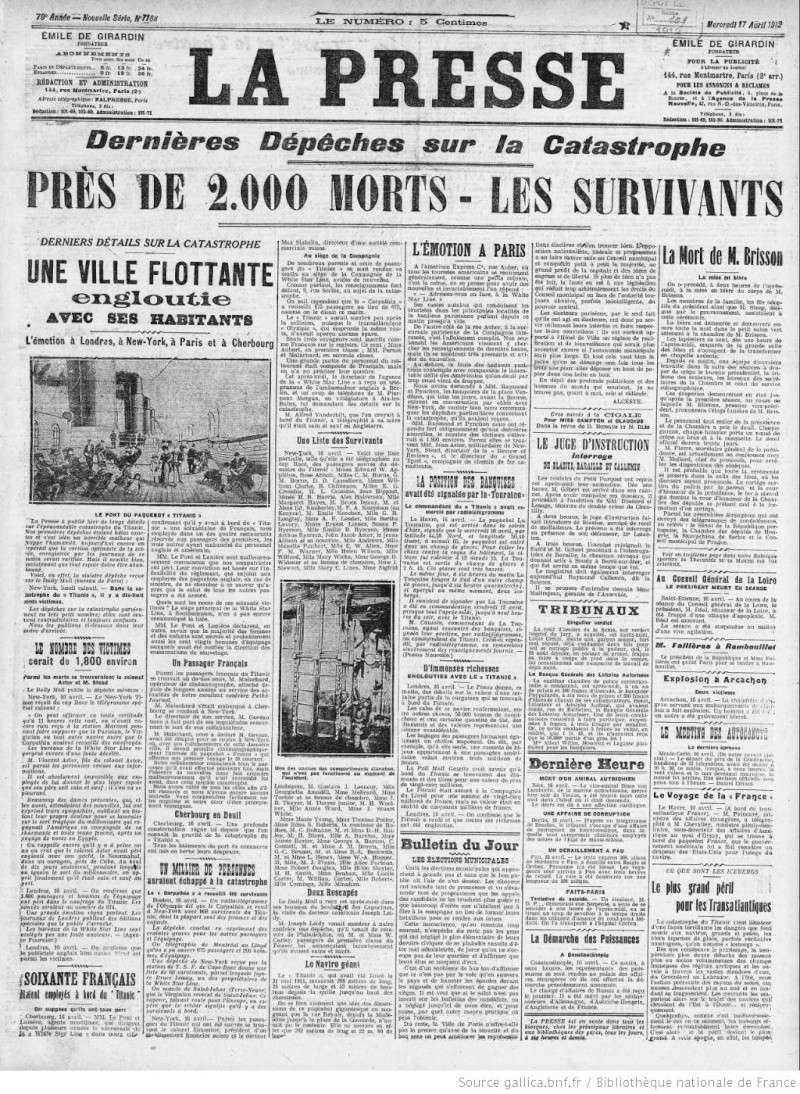 Les articles de journaux sur le naufrage du TITANIC 17_04_11