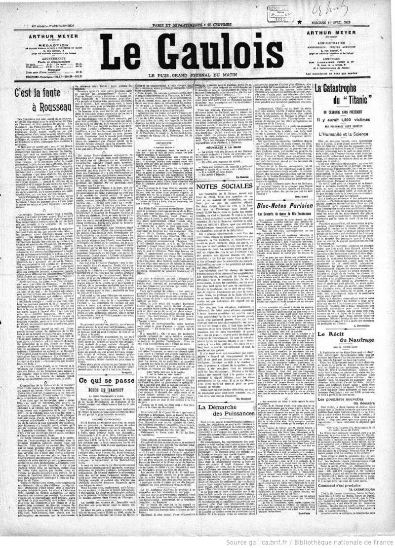 Les articles de journaux sur le naufrage du TITANIC 17_04_12