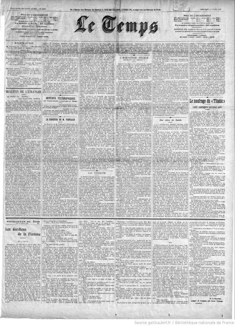 Les articles de journaux sur le naufrage du TITANIC 17_04_14