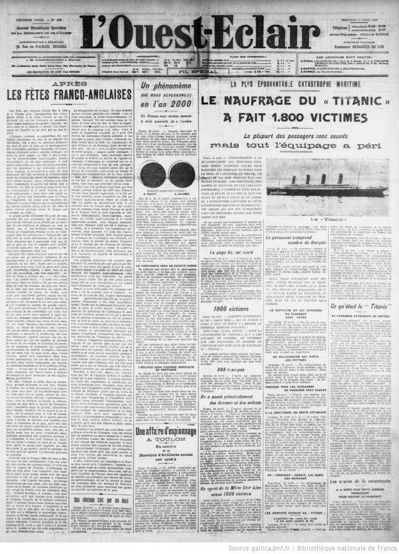 Les articles de journaux sur le naufrage du TITANIC 17_04_15