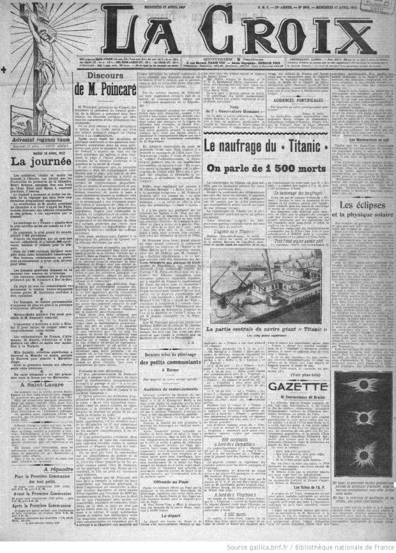 Les articles de journaux sur le naufrage du TITANIC 17_04_16