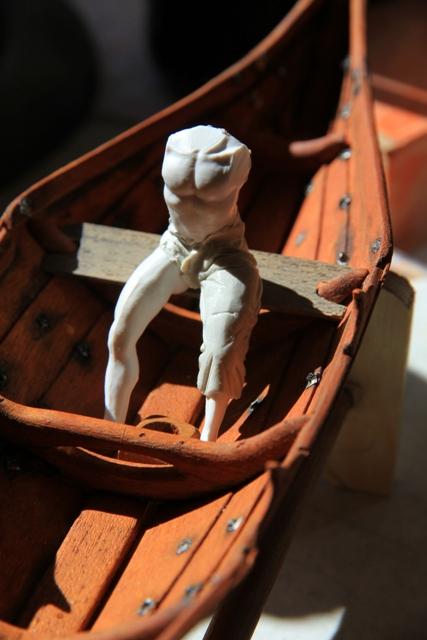 Ruderer im Wikingerbeiboot Adam310
