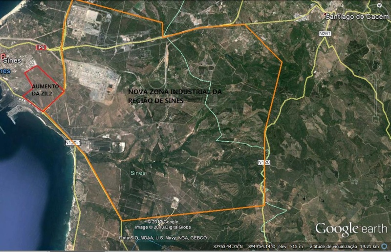 A previsão é para a área metropolitana de Sines instalar a zona maior industrial de Sines Zona_i11